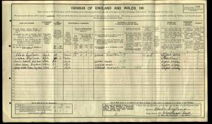 Albert Edward England 1911 Census © Ancestry.co.uk