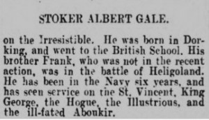 Albert George Gale Death Notice © Dorking Advertiser findmypast.co.uk