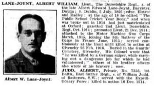 Albert Joynt-Lane De Ruvigny's Rollof Honour © Ancestry.co.uk