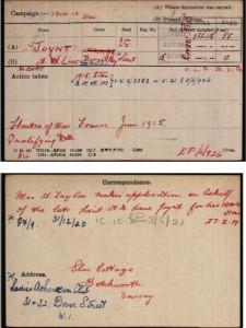 Albert Lane-Joynt Medal Roll Index Card © Ancestry.co.uk