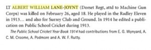Albert Lane-Joynt Obitury Wisden © reproduced with kind permission of John Wisden & Co Ltd.