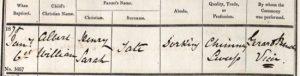 Albert William Tate Baptism Certificate © ancestry.co.uk