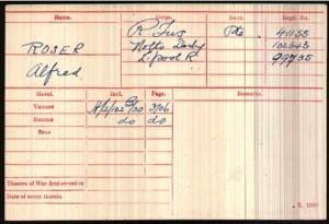 Alfred Roser Medal Rolls Index Card © Ancestry.co.uk