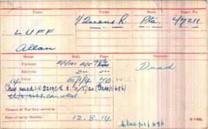 Allan Luff WW1 Medal Roll Index © Ancestry.co.uk