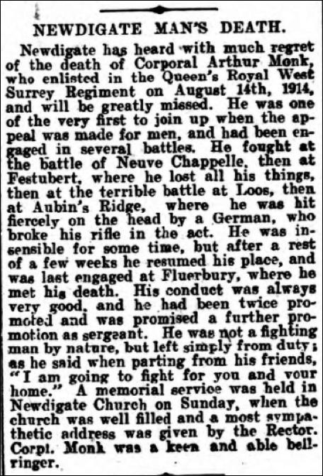 Arthur Monk Death Notice 21st October 1916 © Dorking Advertiser
