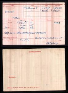 Arthur Stemp Medal Roll Index Card © Ancestry.co.uk