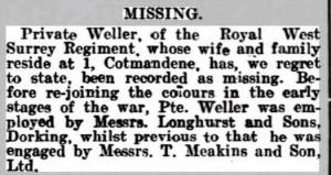 Arthur Tickner Missing Notice Dorking Advertiser © findmypast.co.uk