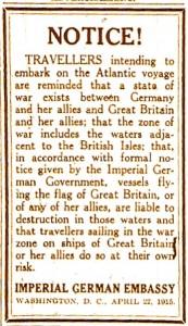 Atlantic Warning Notice © Lusitania Resource