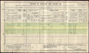 Aubrey Hudson 1911 Census © ancestry.co.uk