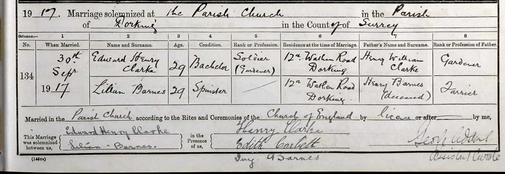 Edward Clarke Marriage Certificate