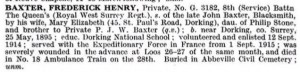 Baxter F. De Ruvigny's Roll of Honour © findmypast.co.uk