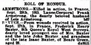 Baxter F. Roll of Honour Dorking Advertiser © findmypast.co.uk