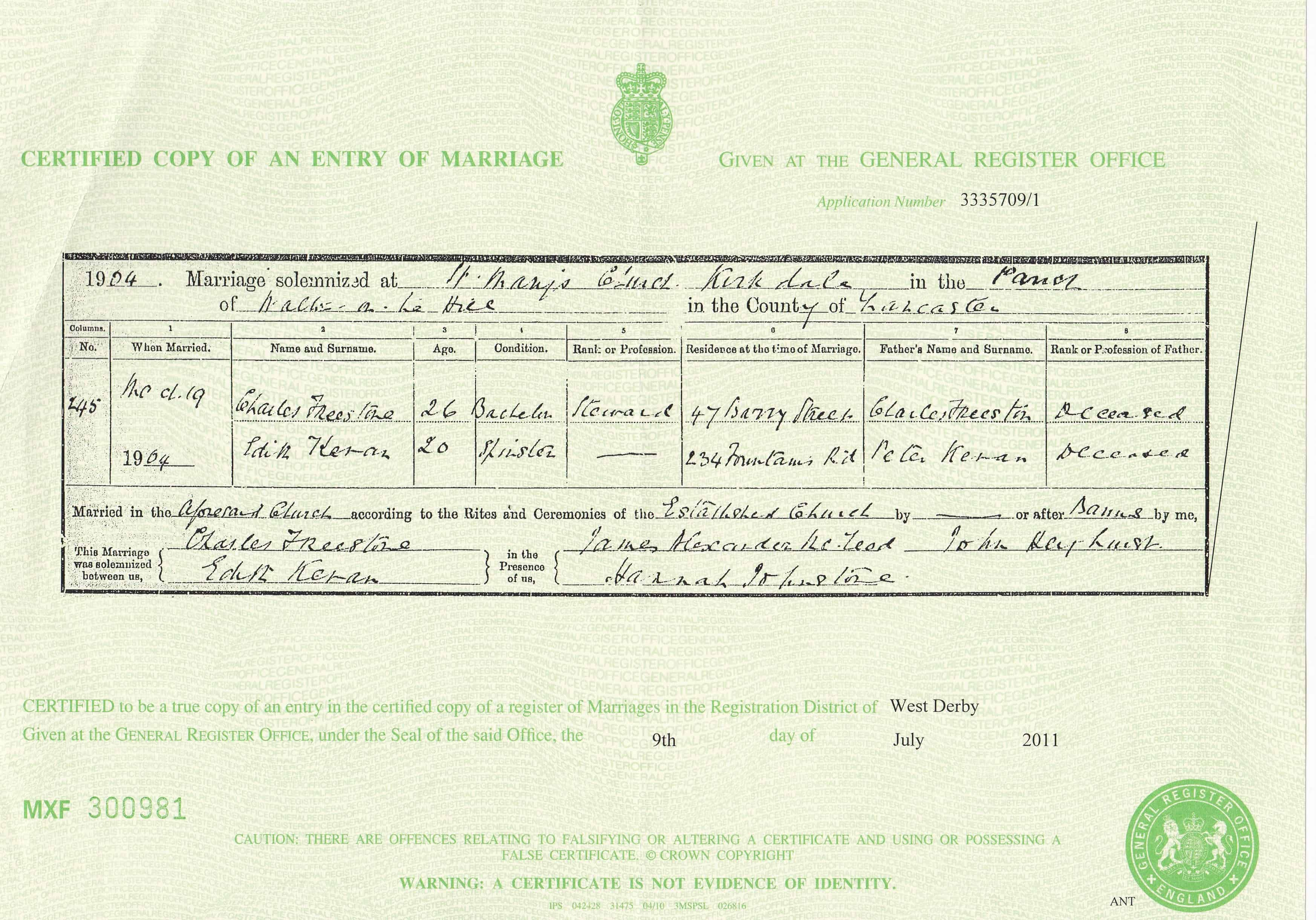 How To Request A Copy Of Your Marriage Certificate Online: Edith Kevan Marriage Certificate 1904
