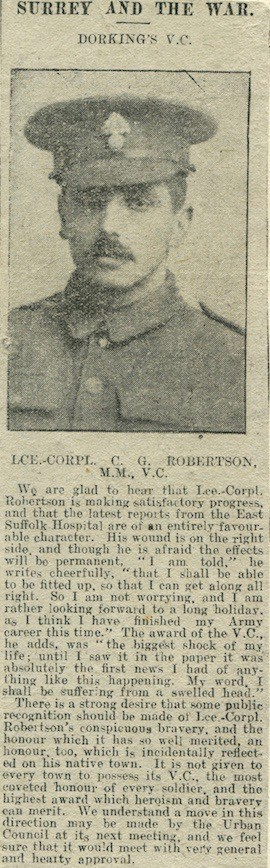 Charles Robertson Injury Notice © Dorking Advertiser