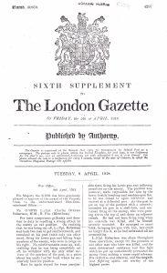 Charles Robertson Medal Citation 1918 © London Gazette