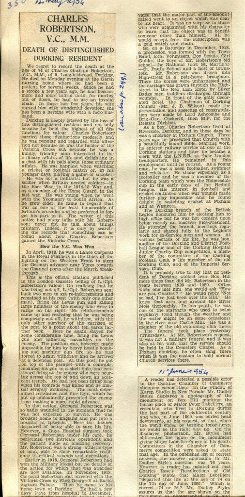Charles Robertson Obituary © Dorking Advertiser