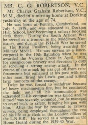 Charles Robertson Obituary ©Surrey Advertiser