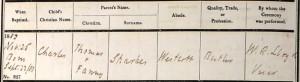 Charles Sparkes Baptism Certificate © ancestry.co.uk