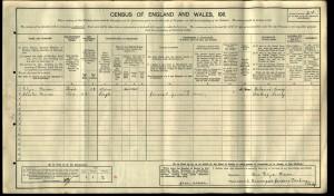Charles William Mercer 1911 Census © ancestry.co.uk