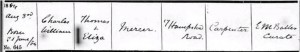 Charles William Mercer Baptism Certificate © ancestry.co.uk