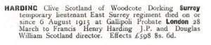 Clive Scotland Harding Probate Notice © Ancestry.co.uk