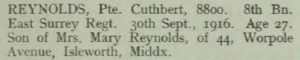 Cuthbert Reynolds Thiepval Memorial Roll of Honour © CWGC.org