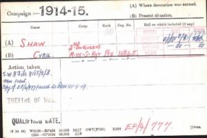 Cyril Shaw Medal Roll Index Card © ancestry.co.uk