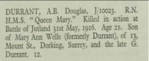 Douglas Durrant Roll of Honour © CWGC.org