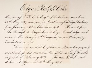Edgar Coles Marlborough College Roll of Honour © Marlborough College