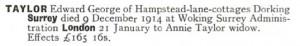 Edward George Taylor Probate Calendar © Ancestry.co.uk