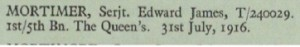 Edward Mortimer Basra Memorial Roll of Honour © CWGC