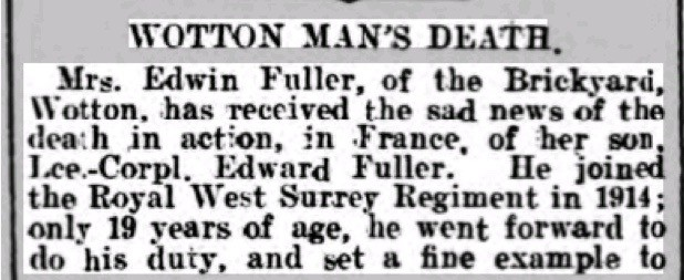 Edwin Fuller Death Notice © Dorking Advertiser