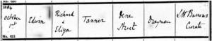 Edwin Tanner Baptism Certificate © ancestry.co.uk