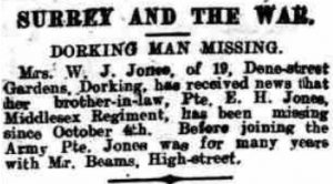 Ernest Henry Jones Missing Notice © Dorking Advertiser