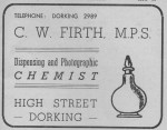 Firth Chemist Advert 1950