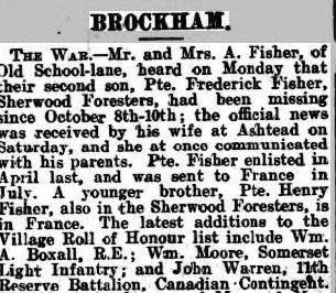 Frederick Fisher Death Notice © Dorking Advertiser findmypast.co.uk