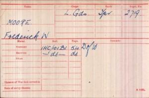 Frederick Walter Moore Medal Rolls Index Card ©ancestry.co.uk