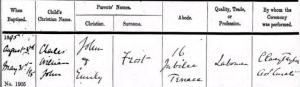 Frost Baptism Certificate © Ancestry.co.uk