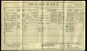 Sheldon Gledstanes 1911 census © Ancestry.com