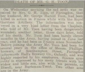 George Harold Toon Death Notice © Reading Mercury findmypast.co.uk