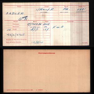 George Sadler Medal Card