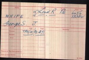 George Sydney James Whife WW1 Medal Rolls Index Card © ancestry.co.uk