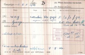 George Way Medal Card © Ancestry.com