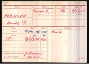 Harold Robinson Army Medal Roll Index Card ©Ancestry.co.uk
