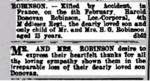 Harold Robinson Death Notice Dorking Advertiser © findmypast.co.uk