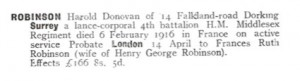 Harold Robinson Probate Calendar © Ancestry.co.uk