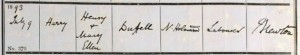 Harry Duffell Baptism Certificate © Ancestry.co.uk