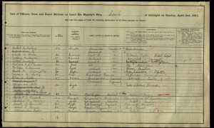 Harry Grantham 1911 Navy Census © Ancestry.co.uk