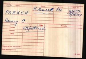 Henry Charles Parker Medal Rolls Index Card © Ancestry.co.uk