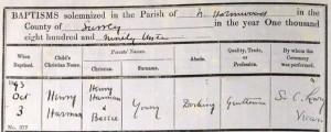 Henry Harman Young Baptism © Ancestry.co.uk